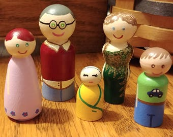 Wooden Peg Dolls Montessori Waldorf Learning Dollhouse Family Members Sold Individually