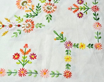 Hand Embroidered Linen Tablecloth with Daisy Flower Embroidery - Square Table Cloth, Vintage Table Linens for Cottage Decor or Bedroom Decor