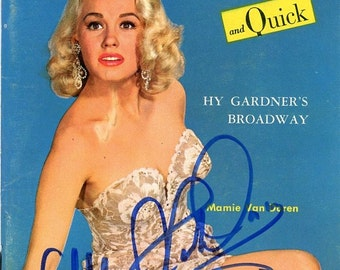 News Tempo & Quick Magazine   1955  Mamie Van Doren on Cover w/ Her Autograph