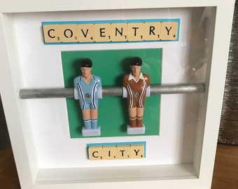 Handcrafted retro coventry city table football wall art