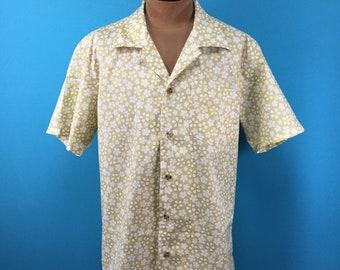 Japanese cotton kimono, cherry blossoms, sakura, Hawaiian shirt, US size M