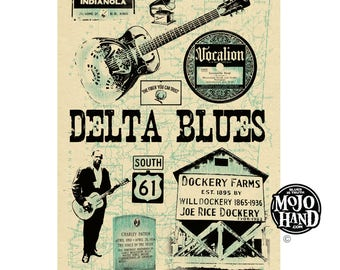 """Delta Blues Poster- signed by Grego - 12""""x18"""" - Mississippi Blues print - BIG"""