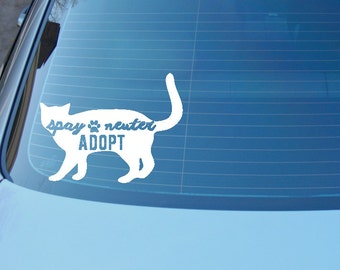 Spay Neuter Adopt decal - Rescue cat decal -shelter cat - Save a life, adopt - cat sticker decal for car or laptop