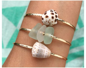 READY TO SHIP - Adult Sized Bangles - Gold Shell Bangles - Gold Beach Glass Bangles - Gold Sea Glass Bangles