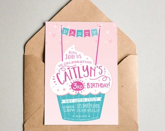 BY312 DIGITAL Birthday Party Invitation - RETRO CUPCAKE typography - bunting printable invite pink mint purple aqua 1st 2nd 3rd 4th 5th 6th