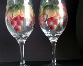 Burgundy Red Grapes Wine Glass Hand Painted  - Dishwasher Safe