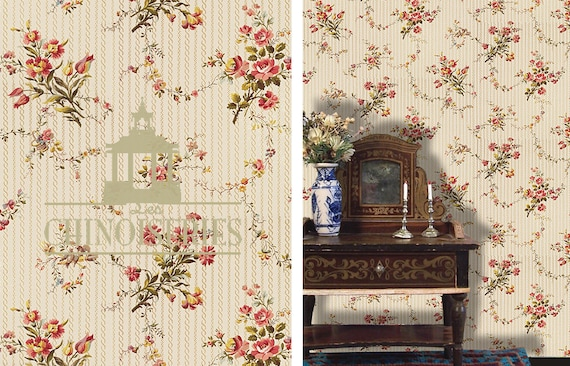 Dollhouse Miniature Wallpaper, Queen, Scale One Inch