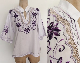 1970's White Embroidered Top Boho Hippie Top Size Small Medium by Maeberry Vintage