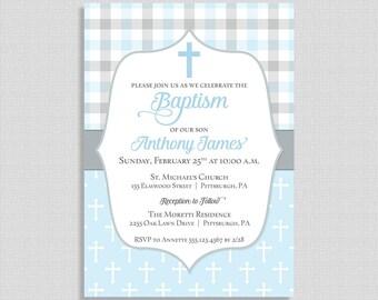 Baby Boy Baptism Invitation,  Light Blue and Grey, Christian Baptism Invite, Boy Christening, DIY PRINTABLE