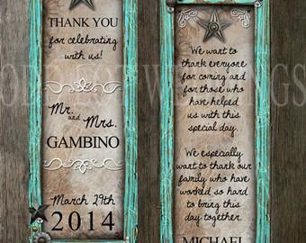 Rustic Turquoise Frame Wedding Thank You Favor, Save the date wedding favor, Bookmark wedding favor, Printable Wedding favors