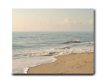 Large ocean wall art canvas, nautical decor, pastel ocean artwork canvas wrap print, tan pale blue shabby chic beach decor, cottage wall art