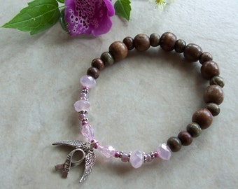 Pink Angel Wings Breast Cancer Awareness Recovery Survivor Stretchy Bead Bracelet Mala Unity Glass Crystal Wood Pewter