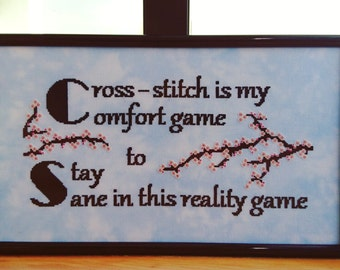 """Cross Stitch Quote Pattern, """"Cross stitch is my comfort game"""" - Cross Stitch Pattern / PDF / Instant Download Only"""