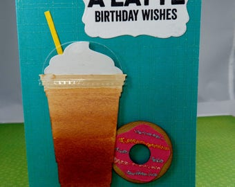 Latte Birthday Wishes Gift Card Holder -- Birthday Card Gift Card Holder -- Gift Card Holder -- Latte Gift Card Holder