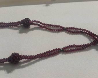 Garnet Necklace with Round beads , Ready to Wear Necklace in 32""