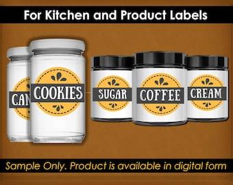 Printable Kitchen Labels - Pantry Labels - Instant Download