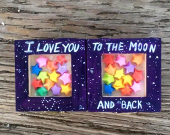 I love you to the moon and back trinket boxes