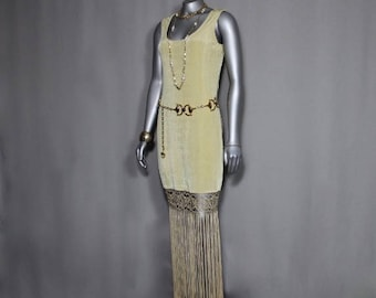 Gold Flapper Style  Fringed Dress/Gown Belt and Necklaces included in Sale