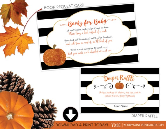 Fall Pumpkin Book Request Card and Diaper Raffle Ticket Bundle • Glitter Fall Autumn Pumpkin Baby Shower •Instant Download Printable BS-F-02