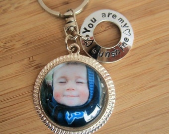 Photo keychain with message- stamped disc birth date display baby announcement gift father's day, gift for grandpa custom mothers day gift