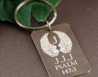 Personalized Memorial Keychain, Vintage Keychain, Sympathy Gift, Dog Tag Keychain, Angel Wing Keychain, Psalm, Bereavement Gift