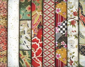 8 Beautifully Coordinated Japanese Fabrics: Fat Quarter Bundle (2 Yds.)