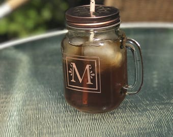 Personalized mason jar mugs with handle and decorative lid