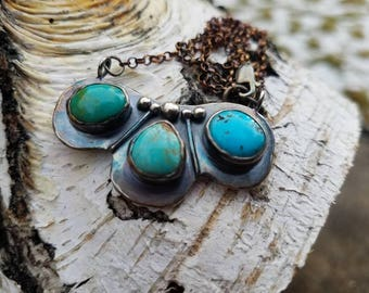 Rustic Mixed Blue Green Turquoise Sterling Silver Bib Necklace Statement Pendant, Boho Organic Earthy Style jewelry