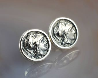 ancient greek coin silver stud earrings, Athena earrings, ancient coin, coin earrings, antique earrings, Athena coin earrings, coin studs