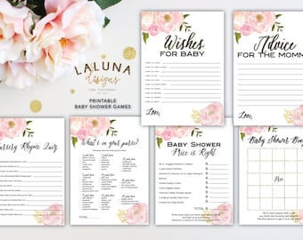 Baby Shower Games, Printable Baby Shower Games, Baby Shower Bingo, Wishes for Baby Printable, Advice for Mommy To Be Card, Pink and Gold