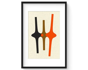 THREE FORM no.3 - Giclee Print - Mid Century Modern Danish Modern Minimalist Cubist Modernist Abstract Eames