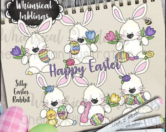 Silly Easter Rabbits Clipart Collection- Immediate Download