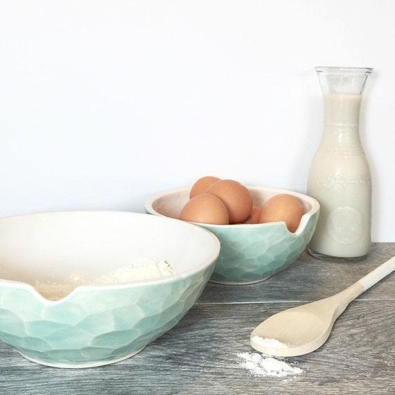 Facet Nesting Bowls Faceted Gem Porcelain Mixing Bowl Set Choose Your Favorite Color MADE TO ORDER