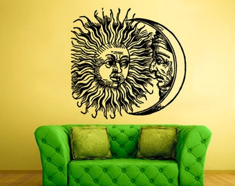 rvz2317 Wall Vinyl Decal Sticker Bedroom Decal Sun Crescent Dual Ethnical Symbol Moon