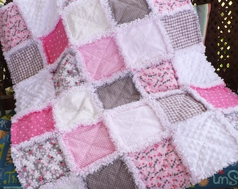 Baby Rag Quilt Baby Girl Crib Quilt Baby Girl Love Bug Rag Quilt Lady Bugs Daisies Gingham Dots Bright Pink Gray White Minky Ready to Ship