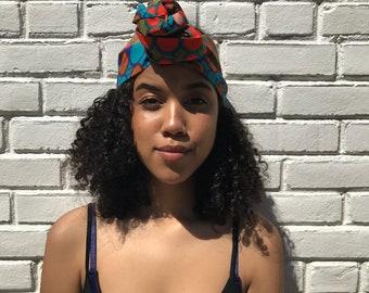 Blue and Orange Half Head Wrap