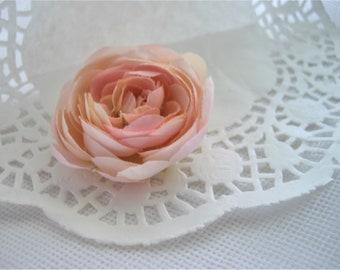 Ranunculus Flower Peach Blush Hair Clip Bobby Pin Or Brooch Wedding Hair Accessory Flower Floral Adornment For Hair by handcraftusa