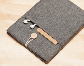 Surface Pro 4 Case, Surface Pro sleeve, Surface Laptop Cover, Surface 3 Case, padded with pockets - Flannel grey