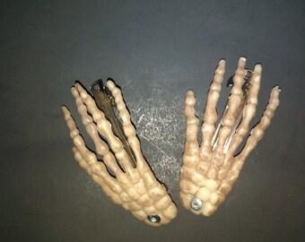 Riveted Skeleton Hand Barrettes - Psychobilly, Goth, Punk