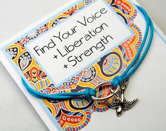 Bird Charm Bracelet - Intention Bracelet - Friendship Bracelet - Strength  Bracelet - Find your Voice -Liberation - INT010