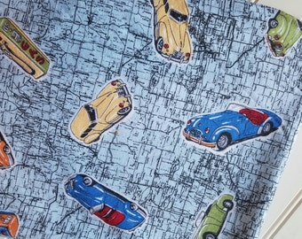 Interlock-Knit-Cars-Vintage-Road-Map-Fabric-By-The-Yard-Kaufman-Kids-Baby-Dads-Granddads-Fashion-Apparel -Sewing-DIY-Crafts-Supplies