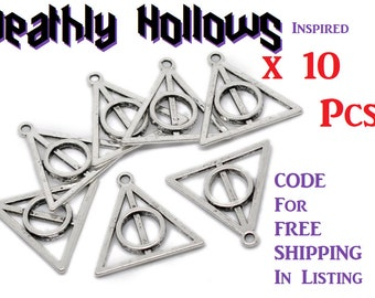 10 Deathly Hallows Symbol Pendants Charms Harry Potter Inspired Antique Silver or Antique Bronze Triangle Circle bulk Hollows Nickel Free