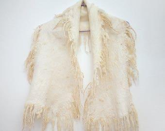 White alpaca felted scarf, Wool & Silk Scarf, soft merino and alpaca wool and silk