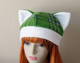 Fleece Cat Hat / GREEN + WHITE Plaid Beanie Cap Style Cute Anime Neko Cosplay Cat Ears Kitty Kawaii Japanese Christmas Winter Fashion