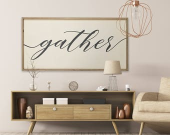 """MORE COLORS & SIZES 48x24 """"Gather"""" / hand painted / wood sign / farmhouse style / rustic"""