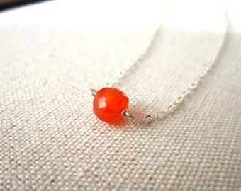Orange and Silver Necklace, Carnelian Gemstone Cube, Sterling Silver Simple Neckace