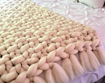 Chunky Knit Blanket, Arm Knit Blanket, Merino Wool Blanket,Handmade blanket