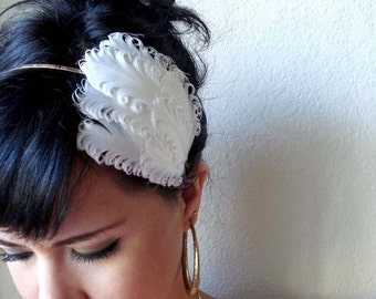 bridal feather headband or hair clip - wedding hair piece - white bridal hair accessory - hair accessories for women - women's gift - VERA