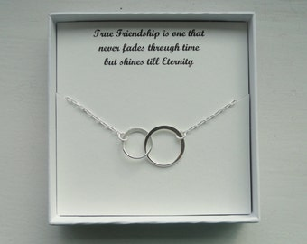 Friendship gift, Sterling silver eternity necklace, Eternity circle necklace, Circle necklace, Gift for friend, Bridesmaid gift