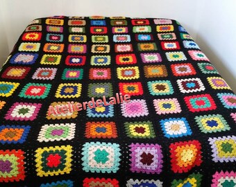 Bedspread, blanket, plaid, above bed 2 places, handmade, Granny square type